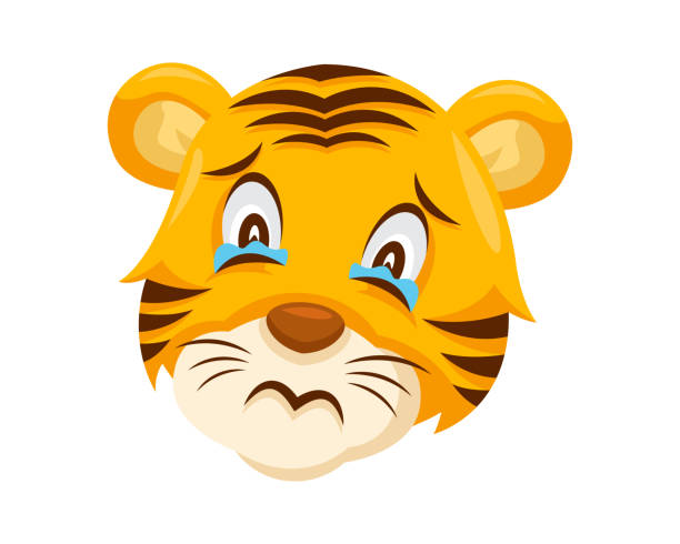 cute tiger face emoticon emoji showing sad face expression - tears of joy emoji stock illustrations