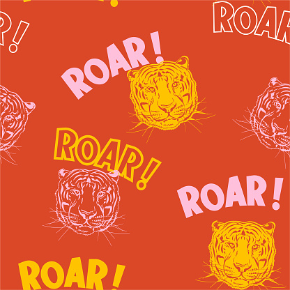 Cute tiger face with wording ROAR ! colorul background seamless pattern vector EPS10,Design for fashion , fabric, textile, wallpaper, cover, web , wrapping and all prints