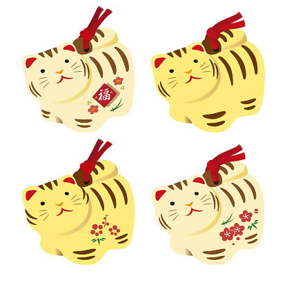 Cute tiger figure ornament, New Year card elements