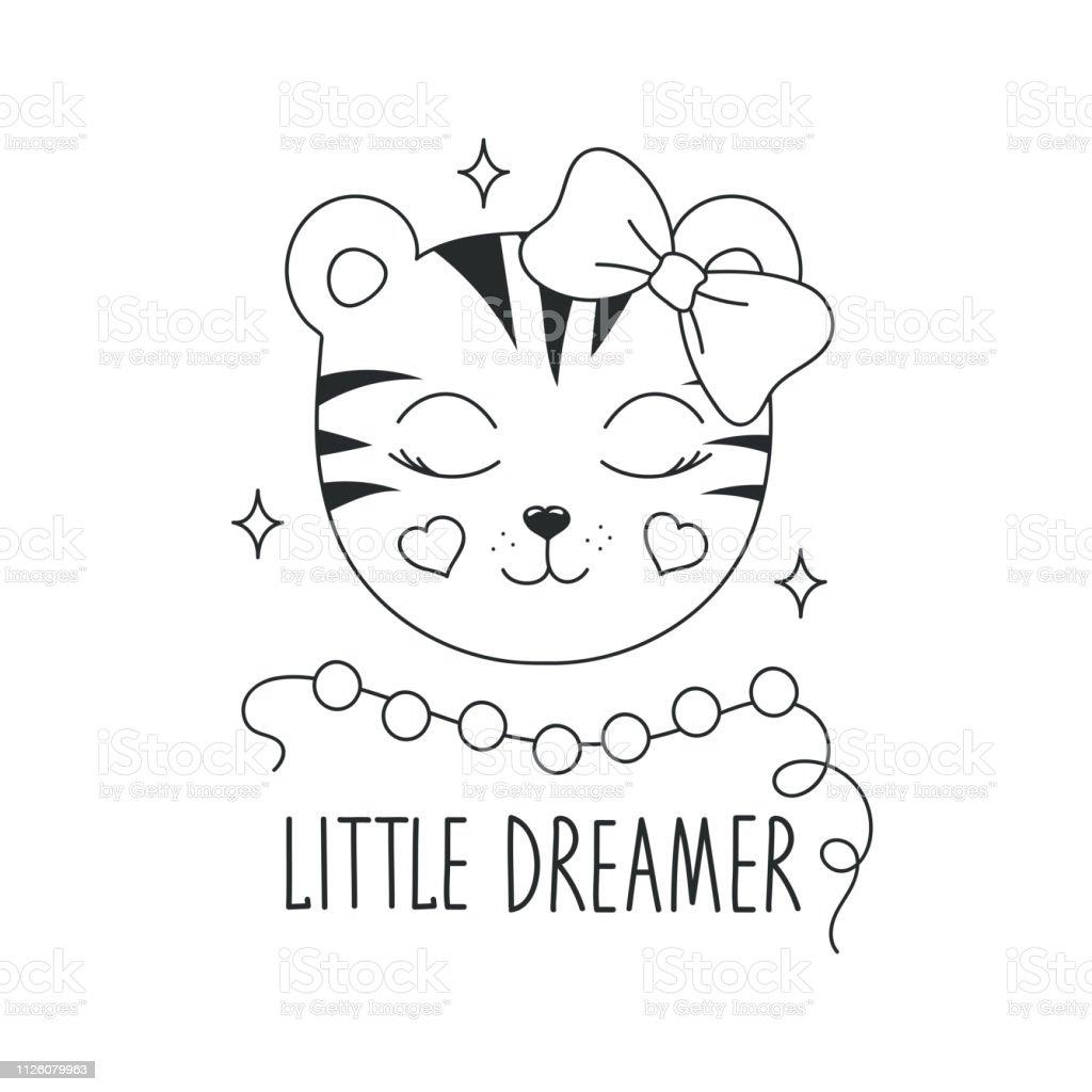 Illustration De Tigre Mignon Petit Texte De Rêveur Design