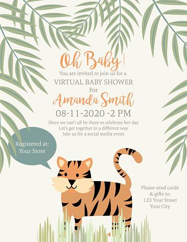 Cute Tiger Jungle Animals Baby Shower Invitation