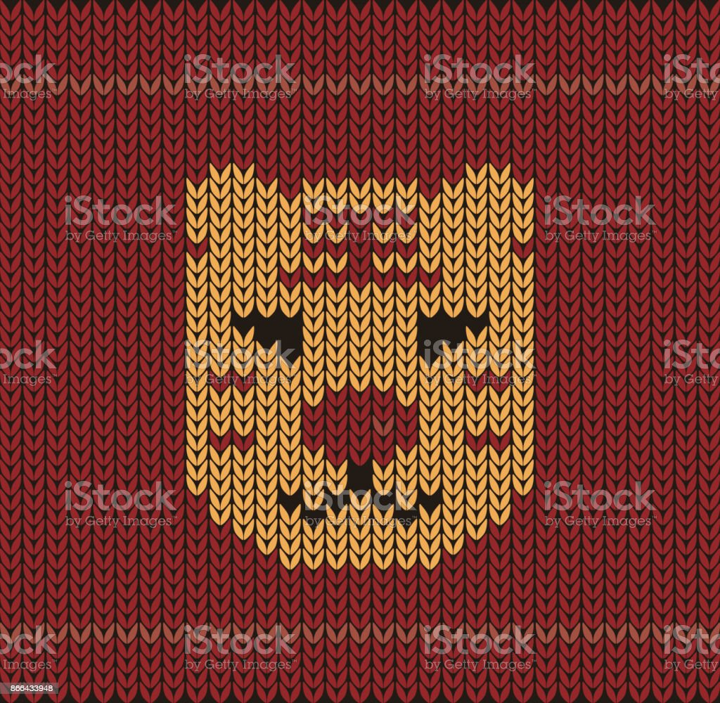 Cute Tiger Toy On The Knitting Pattern Happy New Year Vector ...