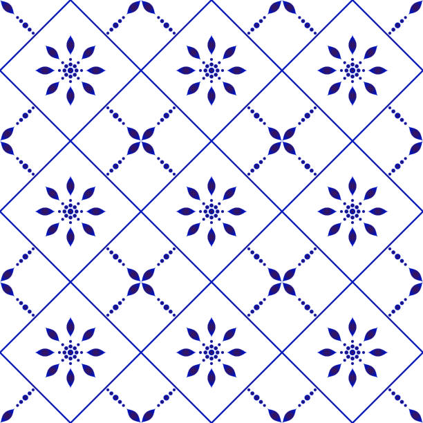 illustrazioni stock, clip art, cartoni animati e icone di tendenza di cute tile pattern - lisbona