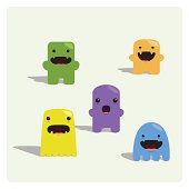 istock Cute Tiny Characters Expression Set 124875757