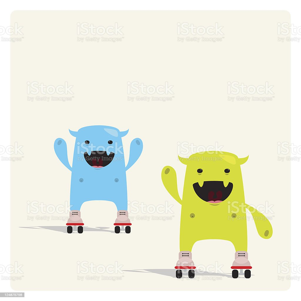 Cute Tiny Characters Rolling with Rollerskate vector art illustration