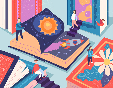 Cute tiny people reading different books, giant textbooks. Concept of book world, readers at library, literature lovers or fans. Colorful vector illustration in flat cartoon style.