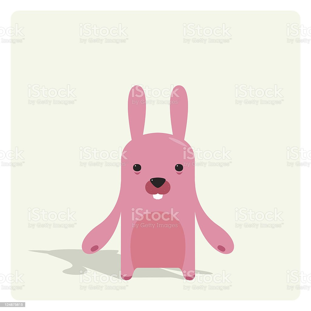 Cute Tiny Pink Rabbit Character vector art illustration