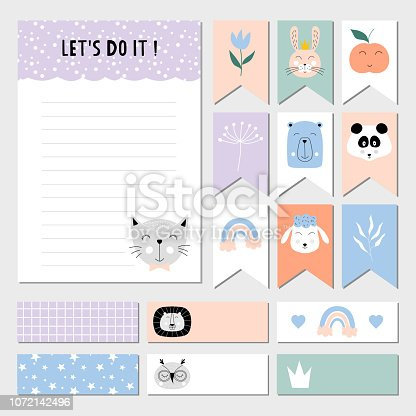Cute to do list, weekly planner, stickers and labels for children. Vector isolated illustration.