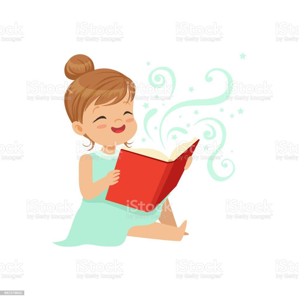 Fille De Bebe Mignon Assis Sur Le Sol Avec Ouvrir Le Livre Magique Caractere Joyeux Enfants Lire Des Contes De Fees Enfance Heureuse Illustration