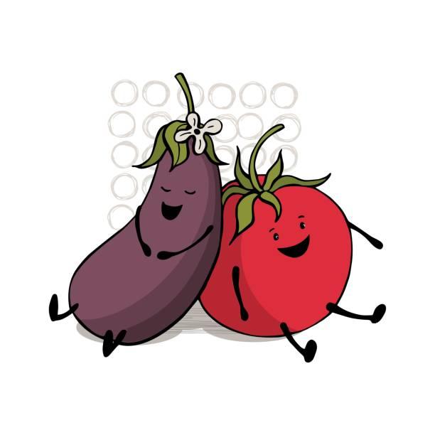 귀여운 토마토와 가지. - 잘 익은 stock illustrations