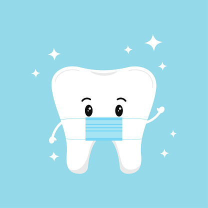 Cute tooth emoji with medical mask and sparkles isolated on background.