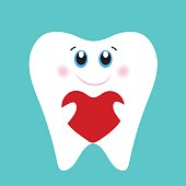Cute tooth holding a red heart. Valentine's day