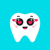 Cute tooth with hearts. Vector illustration for Valentine's day. Flat design