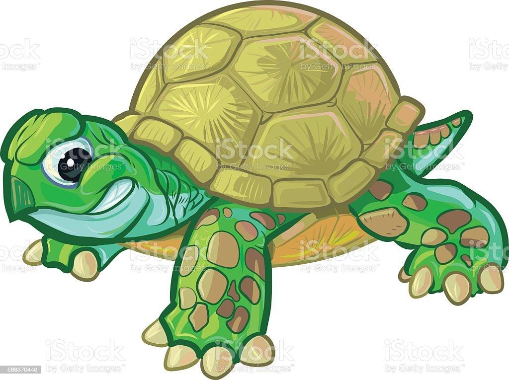 Cute Tough Cartoon Baby Turtle or Tortoise vector art illustration