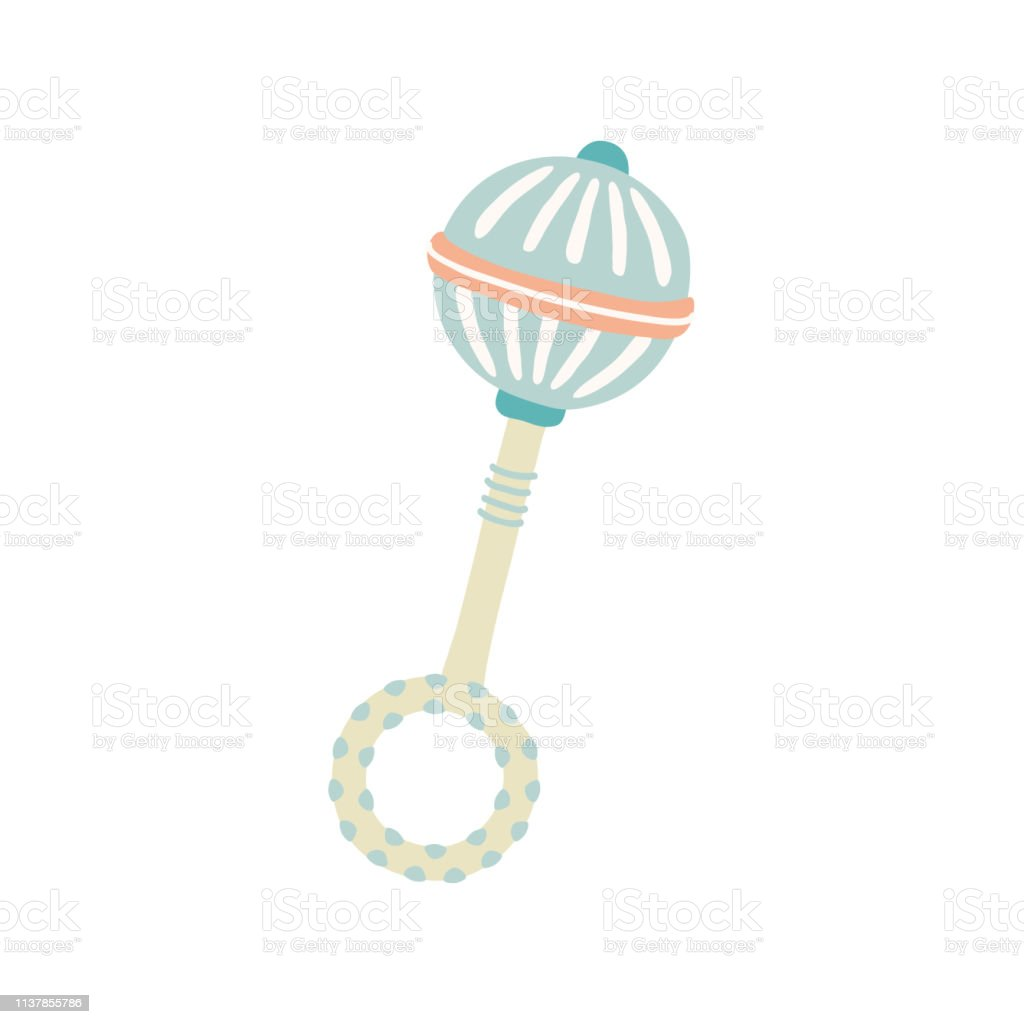 Cute Toy Rattle Kids First Toys Baby Shower Design Element ...