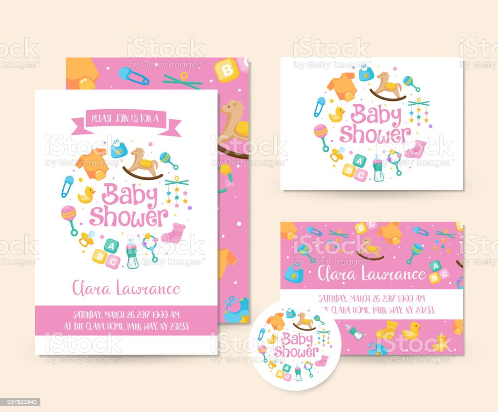 Cute Toy Theme Baby Shower Invitation Card Illustration Template vector art illustration