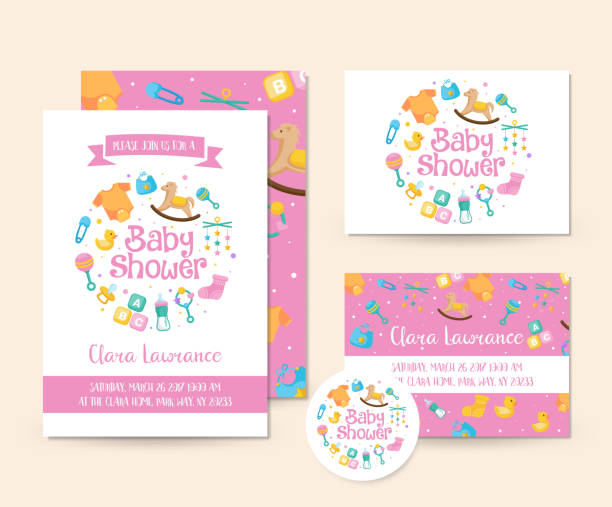 cute toy theme baby shower invitation card illustration template - baby shower stock illustrations, clip art, cartoons, & icons