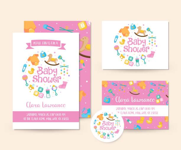 ilustraciones, imágenes clip art, dibujos animados e iconos de stock de lindo juguete tema bebé ducha invitación tarjeta plantilla de ilustración - baby shower
