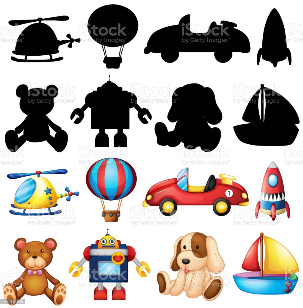 Cute Toys And Silhouette On White Background Stock Vector Art More