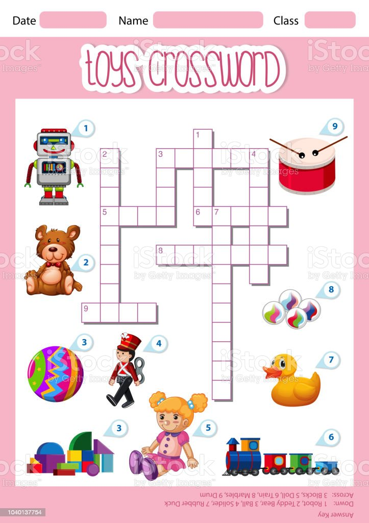 A Cute Toys Crossword Template Stock Illustration - Download Image