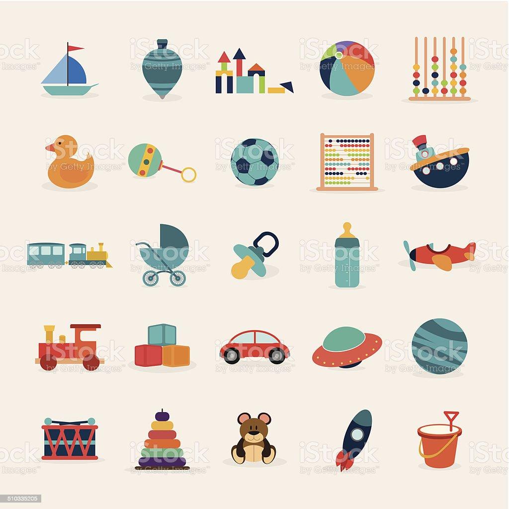 Cute toys vector art illustration