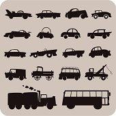 Cute cartoon cars and trucks in traffic.