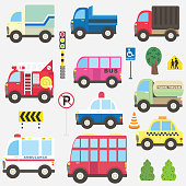 A vector illustration of Cute Transportation Collection Set. Perfect for cute transportation, vintage theme, birthday theme, transportation, racing car, events, holiday, card and many more.