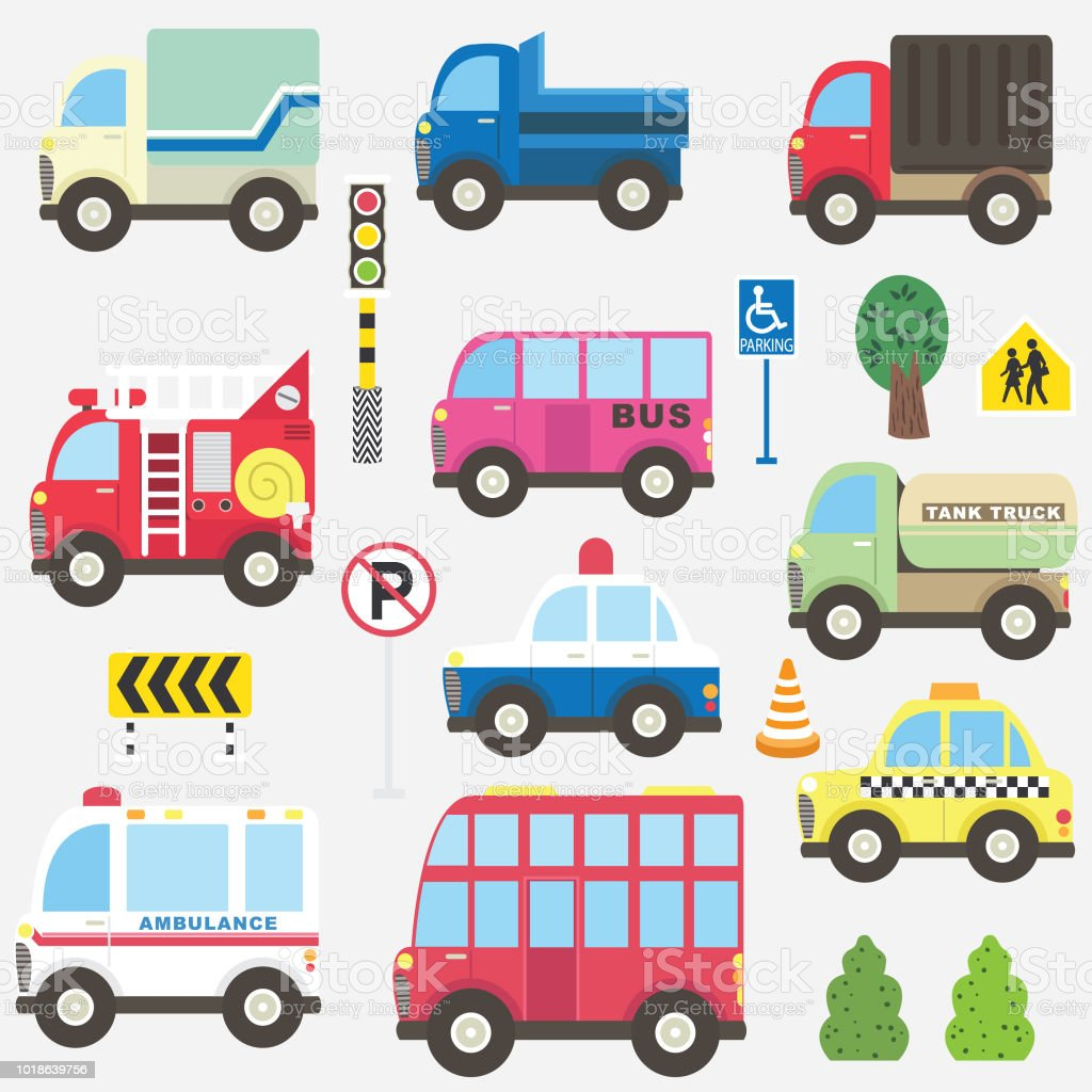 Cute Transportation Collection Set vector art illustration