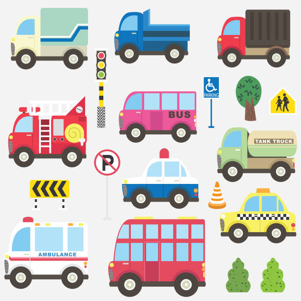 Cute Transportation Collection Set A vector illustration of Cute Transportation Collection Set. Perfect for cute transportation, vintage theme, birthday theme, transportation, racing car, events, holiday, card and many more. police car stock illustrations