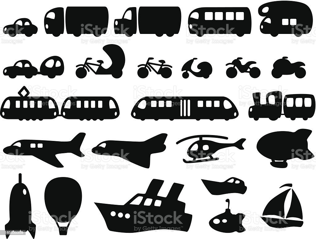 Cute Transportation Icons royalty-free stock vector art
