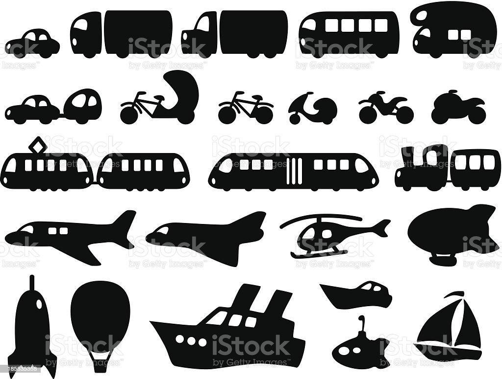 Cute Transportation Icons vector art illustration