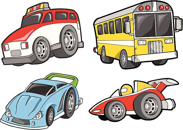 Cute Transportation Vehicle Set vector art illustration