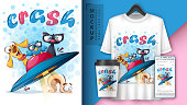 Cute travel animals poster and merchandising. Vector eps 10