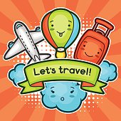 Cute travel background with kawaii doodles. Summer collection of cheerful
