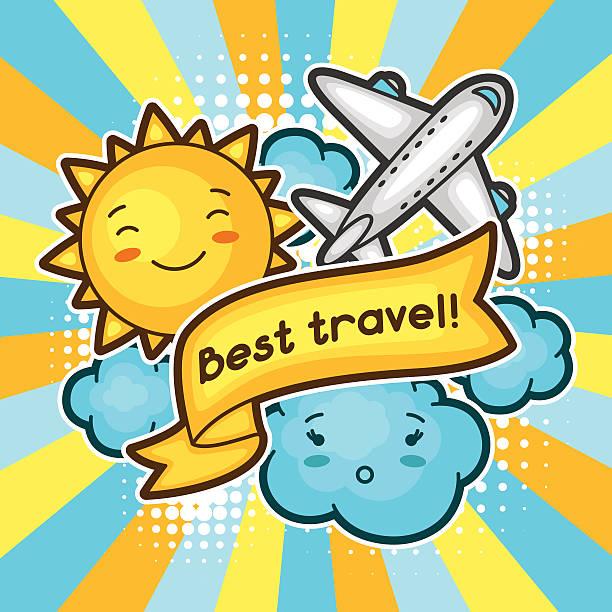 ilustrações, clipart, desenhos animados e ícones de bonito fundo com rabiscos kawaii da viagem. coleção de verão de alegre - viagem de primeira classe