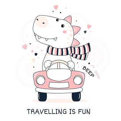 Cute traveler dinosaur rides in the car