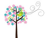 cute tree and bird isolated over white background. vector