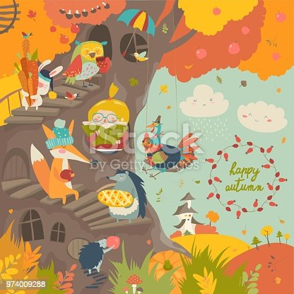 Cute treehouse with little girl and animals in autumn park. Vector illustration