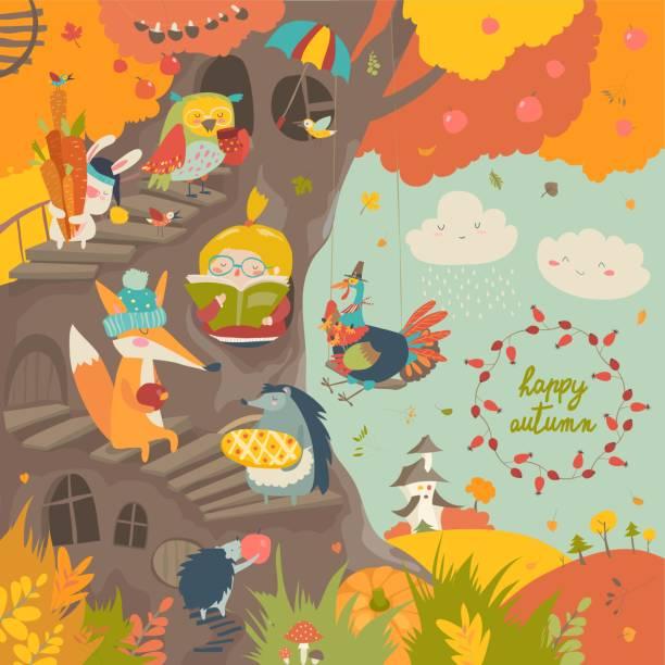 stockillustraties, clipart, cartoons en iconen met leuke boomhut met kleine meisje en dieren in de herfst park - bos spelen