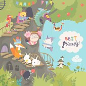Cute treehouse with little girl and animals. Vector illustration