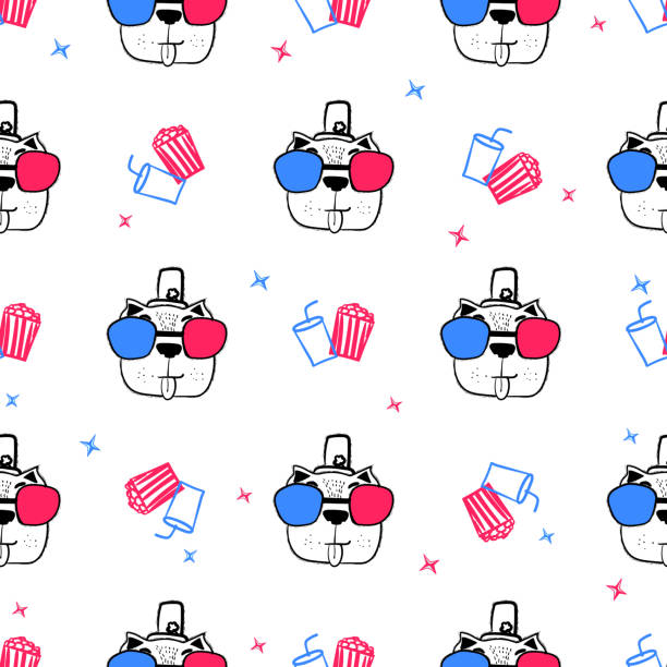 Cute trend seamless pattern with dog in cinema glasses. Cute trend seamless pattern with dog in cinema glasses. Vector template for fashion, t-shirt, baby clothes, packaging, greeting card design. baby sloth stock illustrations