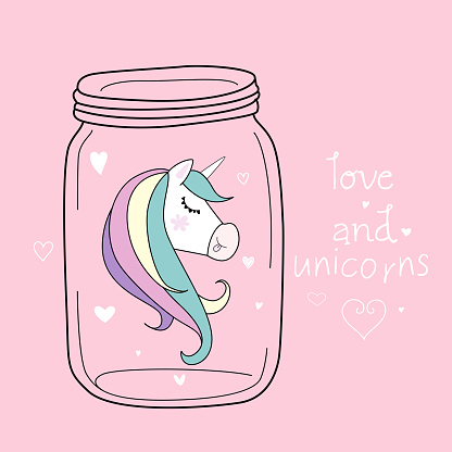 Cute trendy card with jar and unicorn head. Pastel soft colors. Vector.