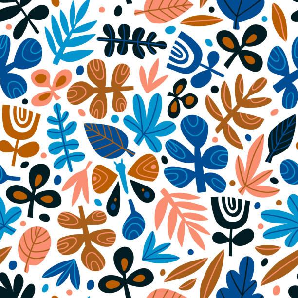 bildbanksillustrationer, clip art samt tecknat material och ikoner med söta trendig design för tyg, tapeter, wrap papper.  skandinavisk stil upprepade bakgrunden. vektorillustration. - children autumn