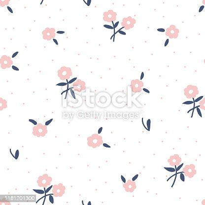 cute Trendy Seamless Floral Pattern on white background