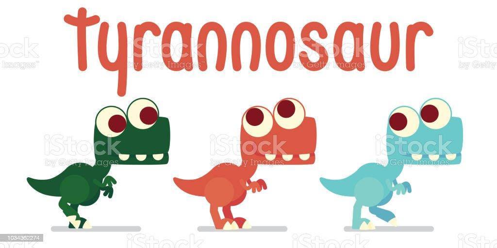 ilustración de trex lindo caminar vida del dinosaurio vector