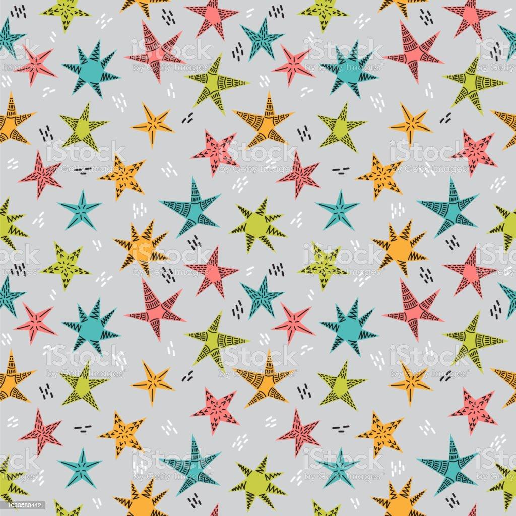 手でかわいい部族のシームレスなパターンは子供のため星を描画します布や