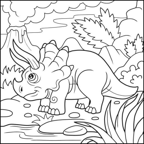 Cute Triceratops Coloring Book Vector Art Illustration