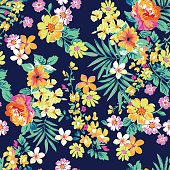 Neon flowers on a black seamless vector background