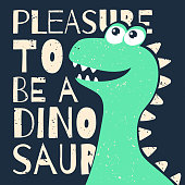 Cute t-shirt design for kids. Funny dinosaur in cartoon style. T-shirt graphic with slogan, childish tee print for boys and girls