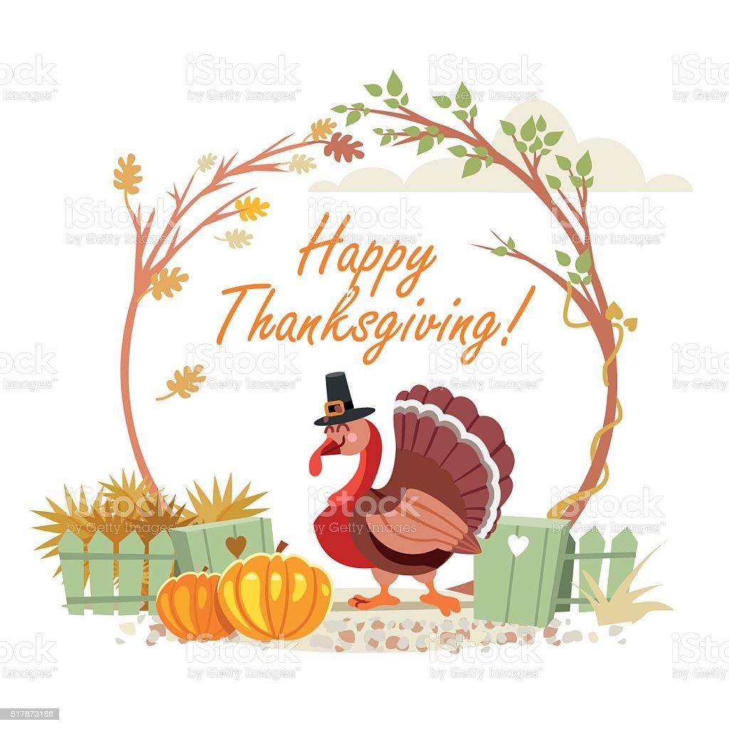 cute turkey in autumn garden happy thanksgiving concept stock